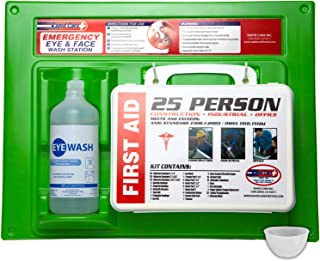 Rapid Care First Aid 661755 16 Oz. Eye Wash Station with First Aid Kit (166Piece for 25 Person), OSHA/ANSI & FDA Compliant, Bonus Reusable Eye Cup & Mounting hardware, 17