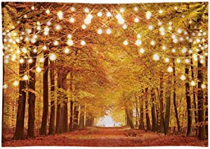 Funnytree 7x5FT Durable Fabric Glitter Autumn Forest Photography Backdrop Sparkle Natural Scenery Fall Landscape Leaves Party Banner Photo Backgound Decor Photocall