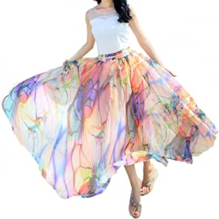 Women Full/Ankle Length Blending Maxi Chiffon Long Skirt Beach Skirt
