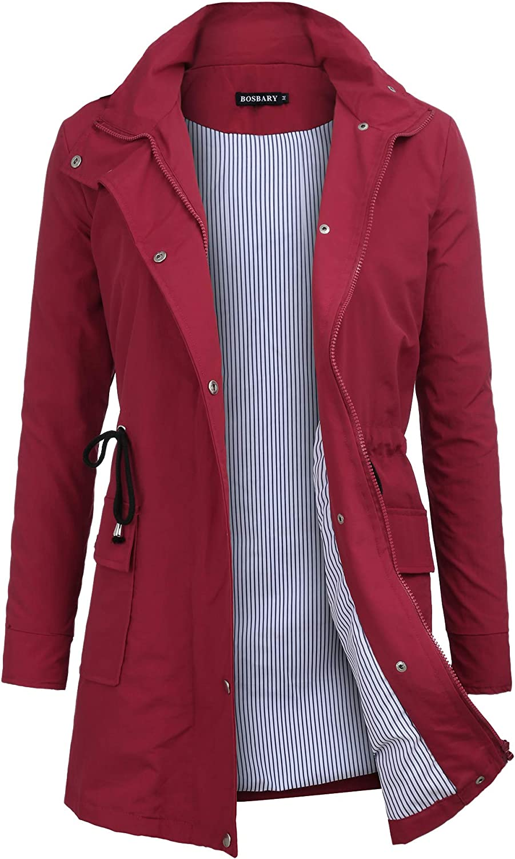 Bosbary Women's Rain Jacket Windbreaker Raincoats Waterproof Lightweight Outdoor Hooded Trench Coats
