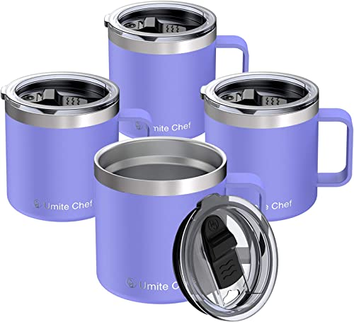 14oz Stainless Steel Insulated Coffee Mug with Handle, Umite Chef Double Wall Vacuum Tumbler with Sliding Lid Travel Friendly, Lavender, 4 Pack