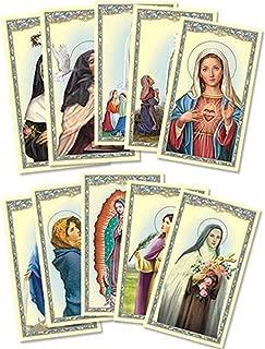 Assorted Catholic Female Patron Saint Holy Prayer Cards, 4 1/8 Inch, Pack of 100