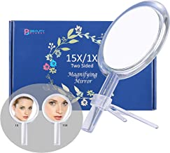 Beauty Planet 6 Inch 15X Magnifying Mirror, Two Sided Mirror, 15X/1X Magnification, Makeup Mirror with Handheld/Stand,Use for Makeup Application, Tweezing, Blackhead/Blemish Removal. (Silver)