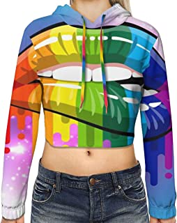 Women Long Sleeve Crop Top Hoodies Lesbian Rainbow Lips Hoodie Cute Graphic Loose Pullover Tops Hoodie