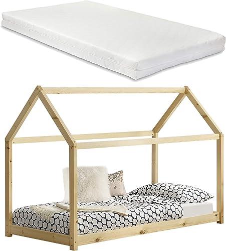 Kinderbett mit Matratze 90x20cm   Natur Holz Haus Design Kiefernholz Bett Holzbett Hausbett Kaltschaummatratze  -Tex Standard 100 Allergikergeeignet Atmungsaktiv