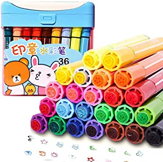 KXF Kids Coloring Marker Pens, 36 Assorted Colors Washable Water Color Pen Felt Tip Stamper Markers Coloring Pens with Sto...