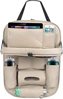 MOTEXTO Universal PU Leather Auto Car Seat Back Organizer with Foldable Dining Table Tray, Multipocket Storage Tablet, Bottle and Tissue Paper Holder (Beige)
