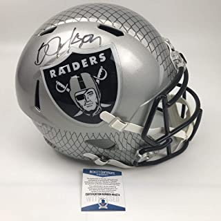 Autographed/Signed Bo Jackson Oakland Raiders Full Size FS F/S Replica Football Helmet Beckett BAS COA