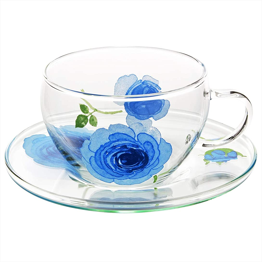 そっと引数イディオムイングリッシュローズ 耐熱ガラス カップ&ソーサー ブルー 39P072