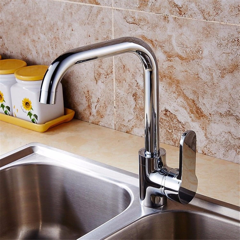 AOEIY Wasserhahn Küchen Mischbatterie Alle Kupfer hei und kalt Chromrotation B Waschtischarmaturen Mixer Spültisch Armatur Bad Spülbecken Spültischbatterie badezimmer Küchenarmatur Edelstahl