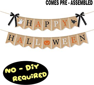 LINGPAR Highly Recommended Happy Halloween Burlap Banner - Multicolored Design Pumpkin Witch Halloween Party Decorations White Black Orange