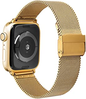 Watruer Compatible Apple Watch Band, 44mm 42mm 38mm 40mm Stainless Steel Mesh Loop with Adjustable Closure Replacement iWatch Band for Apple Watch Series 5 & 4 & 3 Series 2 Series 1 Sport and Edition