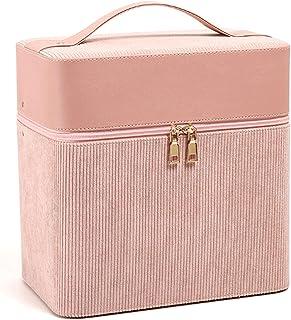 Make-up tas, draagbare cosmetische tas, mode PU lederen corduroy cosmetische tas, eenvoudige en draagbare grote capaciteit...