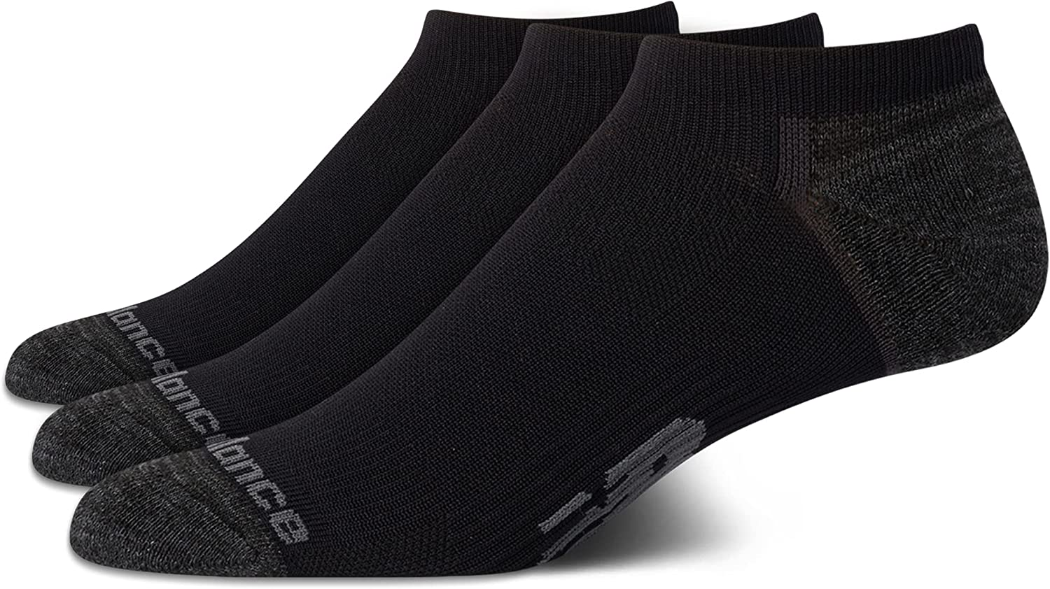 New Balance Men's 3 Pack Cushioned Moisture Wicking No Show Socks with Arch Support