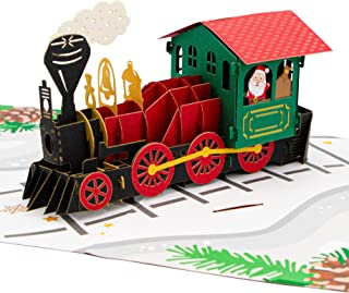 Paper Love Christmas Train Pop Up Card, Handmade 3D Popup Greeting Cards for Christmas, Holiday, Xmas Gift