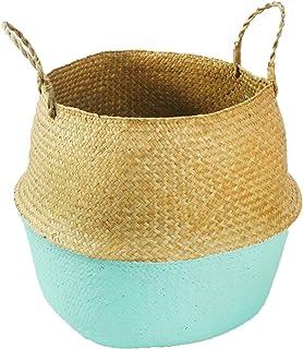 31 cm Plegable Planta de Maceta Hecha a Manejar Plantador Cesta de Asas con asa para Almacenamiento Picnic Casero TaoToa Cesta para el Vientre de Algas Marinas Naturales