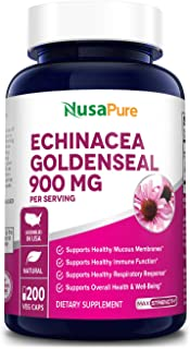 Echinacea Goldenseal 900mg 200 Veggie Caps (Vegetarian, Non-GMO & Gluten Free) Supports Healthy Immune Function and Overal...