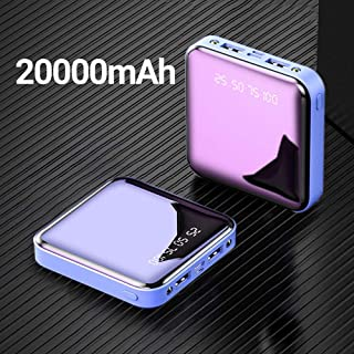 High quality power bank power bank 20000mAh mobile power portable rechargeable Poverbank mobile phone LED mirror external battery pack (Color : 20000mAh Blue)