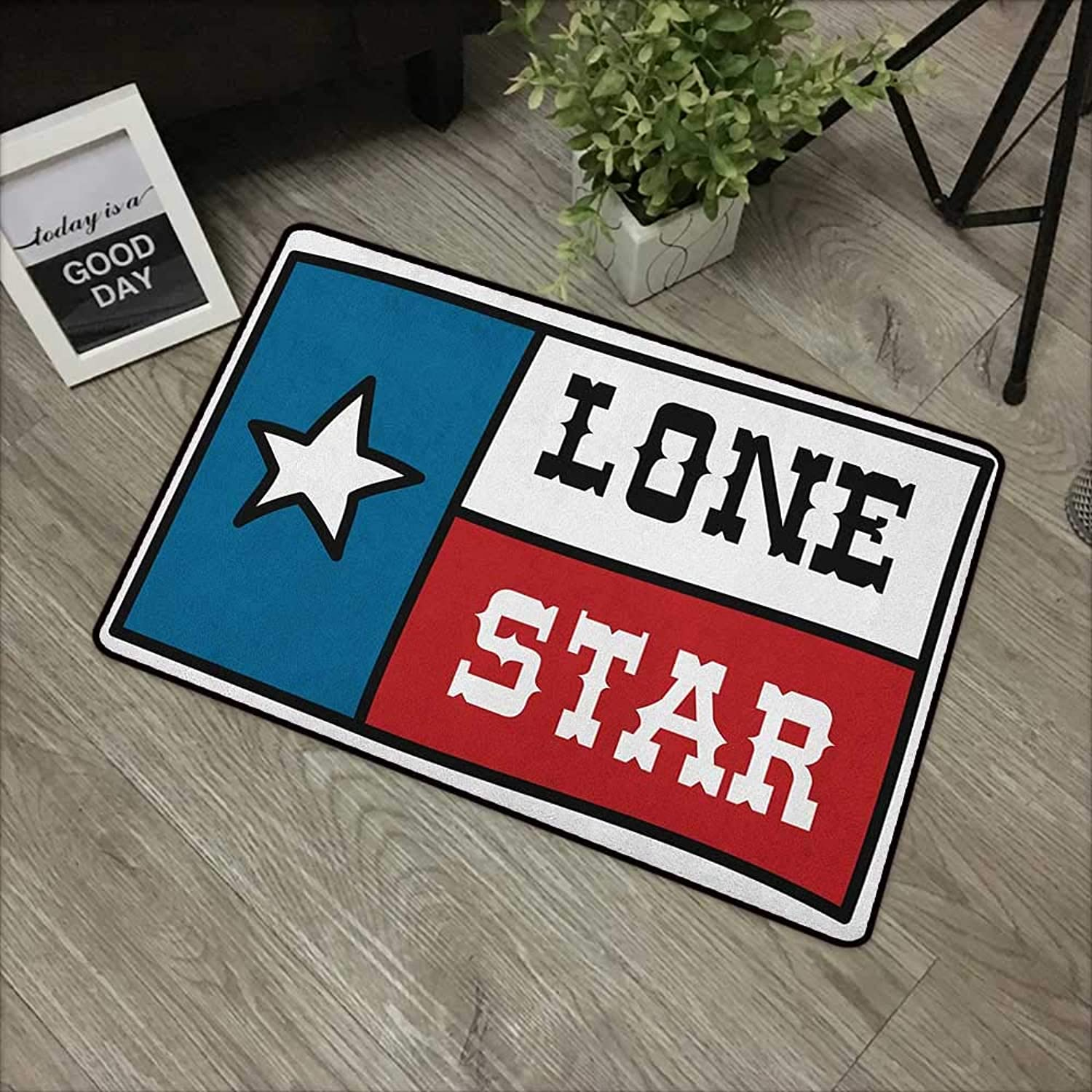 Bathroom Door mat W35 x L59 INCH Texas Star,Lone Star Flag United States of America Themed Patriotic Design, Cobalt bluee Ruby White Easy to Clean, Easy to fold,Non-Slip Door Mat Carpet
