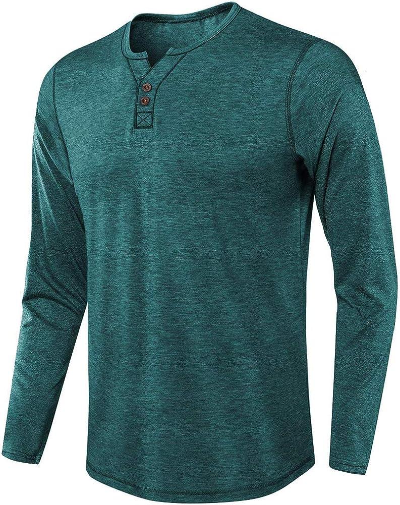 Nuofengkudu Mens Fashion Long Sleeve Henley Button V Neck Tee Plain Casual Cotton Basic T-Shirts