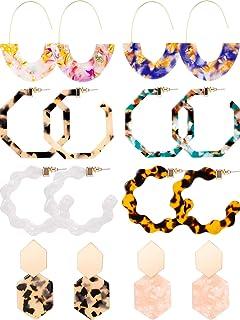 8 Pairs Mottled Acrylic Hoop Earrings Resin Statement Drop Dangle Earrings Polygonal Bohemian Fashion Jewelry Earrings for Women Girls
