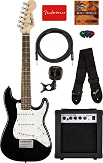 Fender Squier Mini Strat Electric Guitar - Black Bundle with Amplifier, Instrument Cable, Tuner, Strap, Picks, Fender Play Online Lessons, and Austin Bazaar Instructional DVD