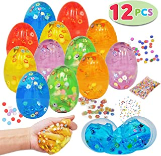 12 PCs Prefilled Easter Iridescent Slime Putty Eggs with Accessories for All Ages Kids Easter Theme Party Favor, Easter Eggs Hunt Game, Party Supplies, Easter Basket Stuffers, Great Family Games.
