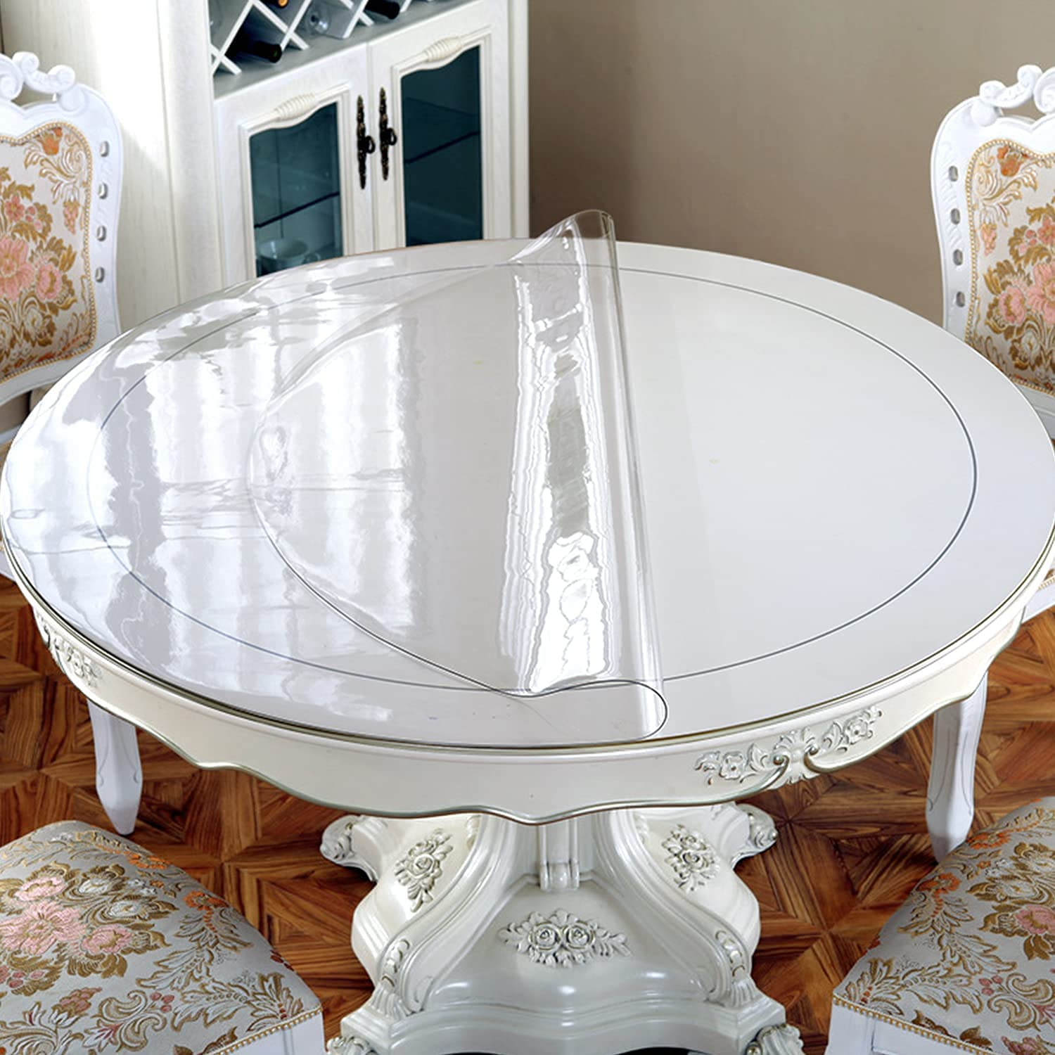New Version 9.9mm Thick 9 Inches Clear Round Table Cover, Plastic Table  Cover, Clear Table Protector Round, Table Pad, Clear Table Cover Protector