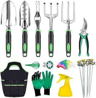 INPHER 33PCS Herramientas Jardinerías,Kit de Jardinería Acero Inoxidable,Tijeras Podar,Pala Jardinería,Guantes de Jardiner...