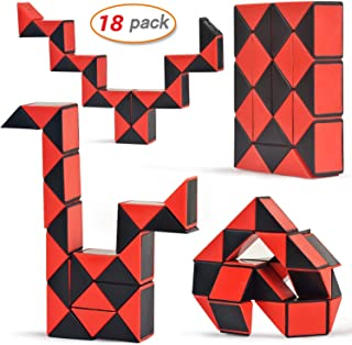 Yo-fobu 18 Pack Snake Cube Twist Puzzle Toys Collection Brain Teaser for Kids Party Bag Fillers, Party Favours