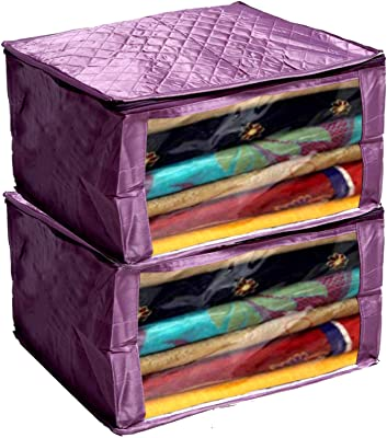 Kuber Industries Designer 2 Pieces Saree Cover Large Size in Purple Satin Material with Capacity of Upto 15 Sarees Gift (Purple)-KUBMART2811