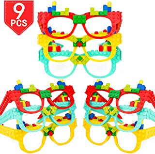 Bonus Gift Boutique Balloon 12 Pack Colorful Building Block Brick Glasses for Classroom Carnival Birthday Theme Party Favor Supplies Decorations Fun for Kids Teens Girls Boys and Children