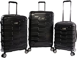 ORIGINAL PENGUIN Collins 3 Piece Set Expandable Suitcase with Spinner Wheels, Black, One Size