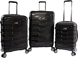 ORIGINAL PENGUIN Collins 3 Piece Set Expandable Suitcase with Spinner Wheels, Black