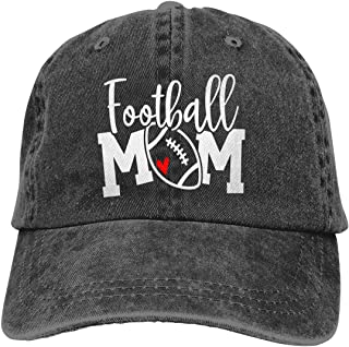 Football Mom Hat Distressed Cotton Sports Baseball Cap for Women Black