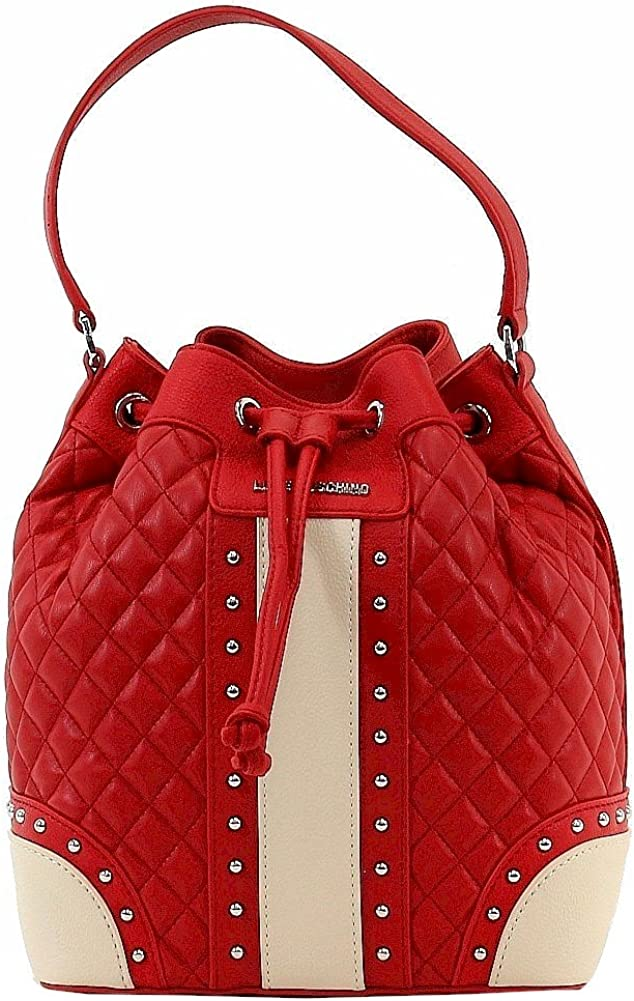 Love Moschino Women's Quilted & Studded Red Leather Drawstring Satchel Handbag