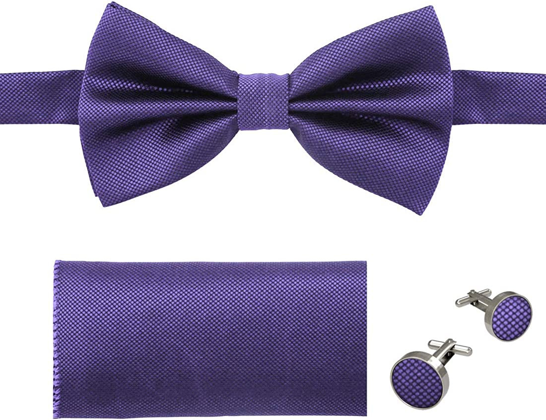 Dan Smith Pre-tied Bow Tie Set for Men's Fashion, Matching Hanky, Cufflinks Set Available, Come with Box