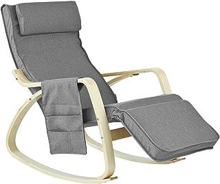 SoBuy FST18-DG fotel bujany z kieszenią, 5-stopniowa regula