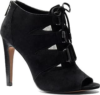 black zip front peep toe heels