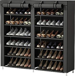 UDEAR Shoes Rack Organizador de Tela de Zapatos Zapatero 7 Pisos con Resistente al Polvo Gris
