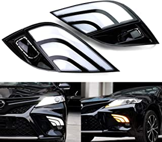 iJDMTOY Switchback LED Daytime Running Lights Assy For 2018-up Toyota Camry SE XSE TRD Trims, JDM Style White/Amber DRLs w/Sequential Flash Turn Signal Feature