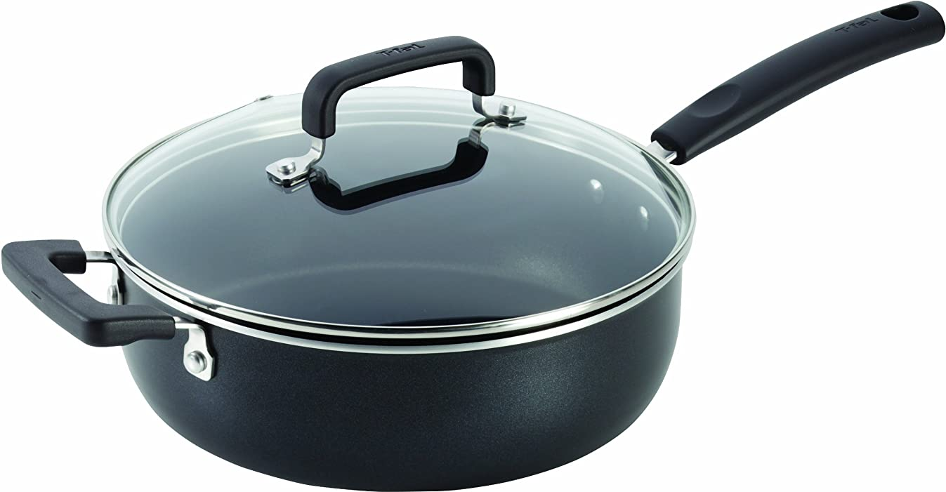 T-fal C53133 Signature Nonstick Expert Easy Clean Interior Thermo-Spot Heat Indicator Dishwasher Safe Oven Safe 10-Inch Jumbo Cooker with Glass Lid Cover Cookware, 4.2-Quart, Black