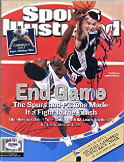 Tim Duncan Ben Wallace Signed 2005 Sports Illustrated Magazine PSA/DNA