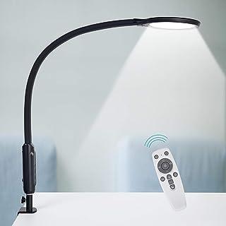 デスクライトYOUKOYIアームライト 18W LEDデスクスタンド クランプ付き 10階段調光&5種色温度 省エネ電気スタンド タッチセンサー&リモコン、360°回転可能、タイマー、メモリ、視力ケア クリップライト 目に優しい 卓上ライト 読...