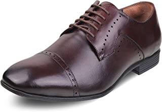 tresmode Mens Leather Derby Lace up Formal Shoes