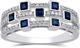 Jewelili Sterling Silver 2mm Princess Cut Created Blue Sapphire 1/5cttw Round Diamond Three Row Set Ring, Size 8