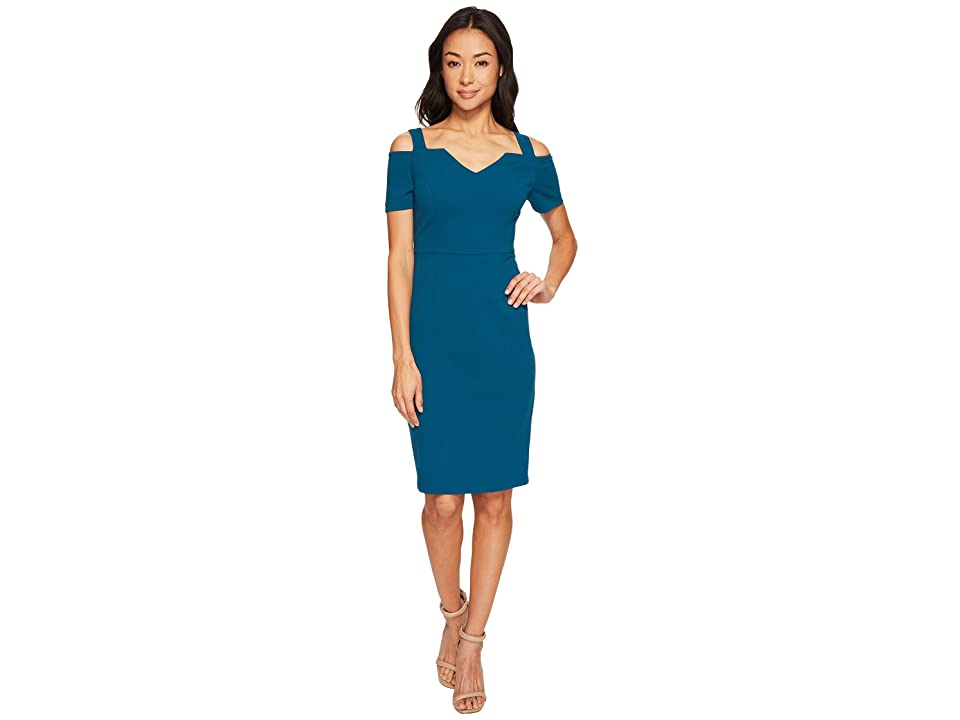 Adrianna Papell Knit Crepe Cold Shoulder Sheath Dress (Deep Teal) Women