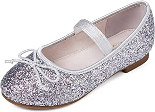 Alicorn Girl's Glitter Casual Bowknot Mary Jane Flats