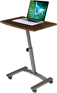 "Seville Classics 23.6"" Solid-Top Height Adjustable Mobile Laptop Desk Cart (20.5"" to 33"" H) Ergonomic Table, Walnut"