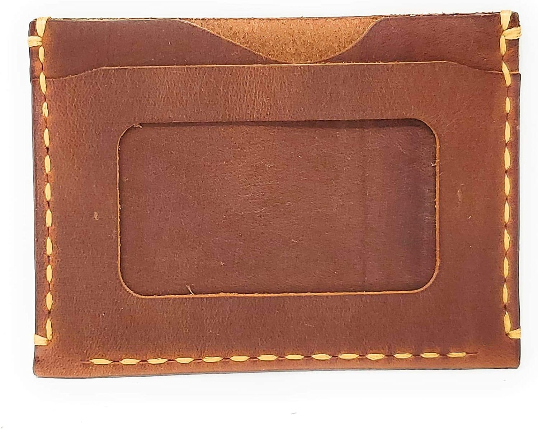 MyMesken- Leather Card Holder for Men with ID Window- Credit Card Holder Craftsmanship- Minimalist and Slim Card Case